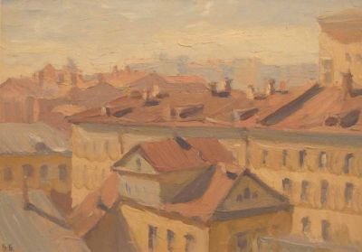 Vsevolod Brodsky - Rooftops in Moscow