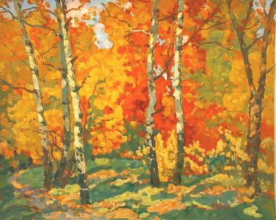 Sold Works: Evgeni Chuikov - Birch Trees in Autumn