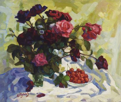 Sold Works: Evgeni Chuikov - Roses and Cherries