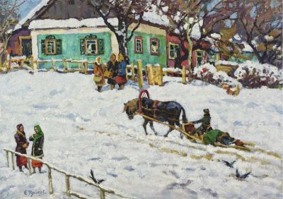 Sold Works: Evgeni Chuikov - Winter in the Village