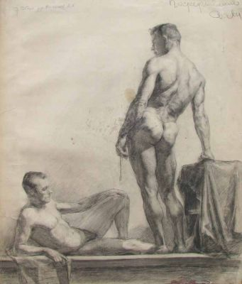 Works on Paper - Study of Two Men