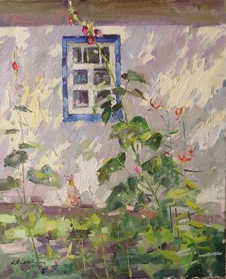 Andrei Yalanski - Hollyhocks in the Garden