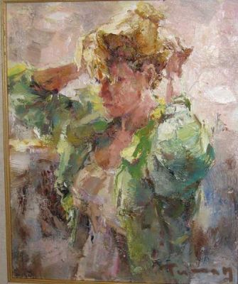 Tuman Zhumabaev - Etude, Woman in Green