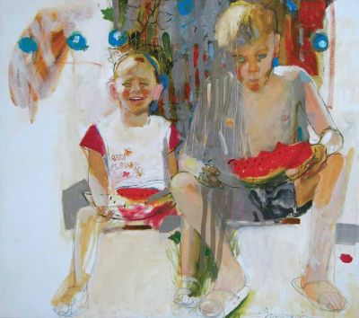 Elena Vilchukova - Boys Eating Watermelon