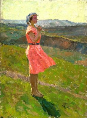 Sold Works: Aleksei Borodin - Girl in Red
