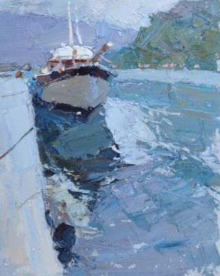 Click here to see selected sold works - Moored Boat