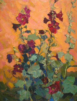 Aleksei Kamenev - Red Hollyhocks