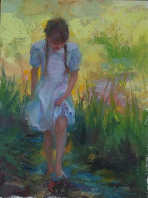 Select Sold Works: Marci Oleszkiewicz - Wading in the Creek