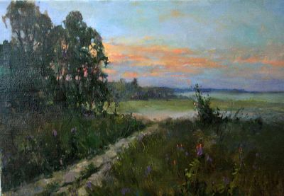 Select Sold Works: Alexander Kremer - Village in Evening (Otradnoe)