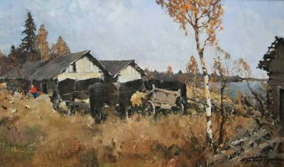 Select Sold Works: Alexander Kremer - On the Volkhovya, Rural Life