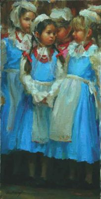 Select Sold Works: Marci Oleszkiewicz - Blue Dresses