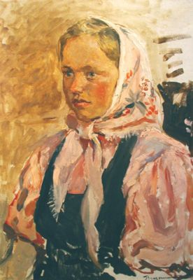 Sold Works: Aleksander Pushnin - Girl in Pink