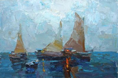 Click here to see selected sold works - Boats in the Evening