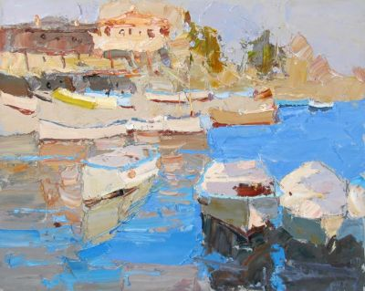 Click here to see selected sold works - Boats Blue Water