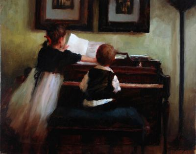 Select Sold Works: Marci Oleszkiewicz - The Piano Lesson