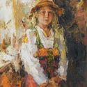Tuman Zhumabaev - Portrait of a Girl in a Hat